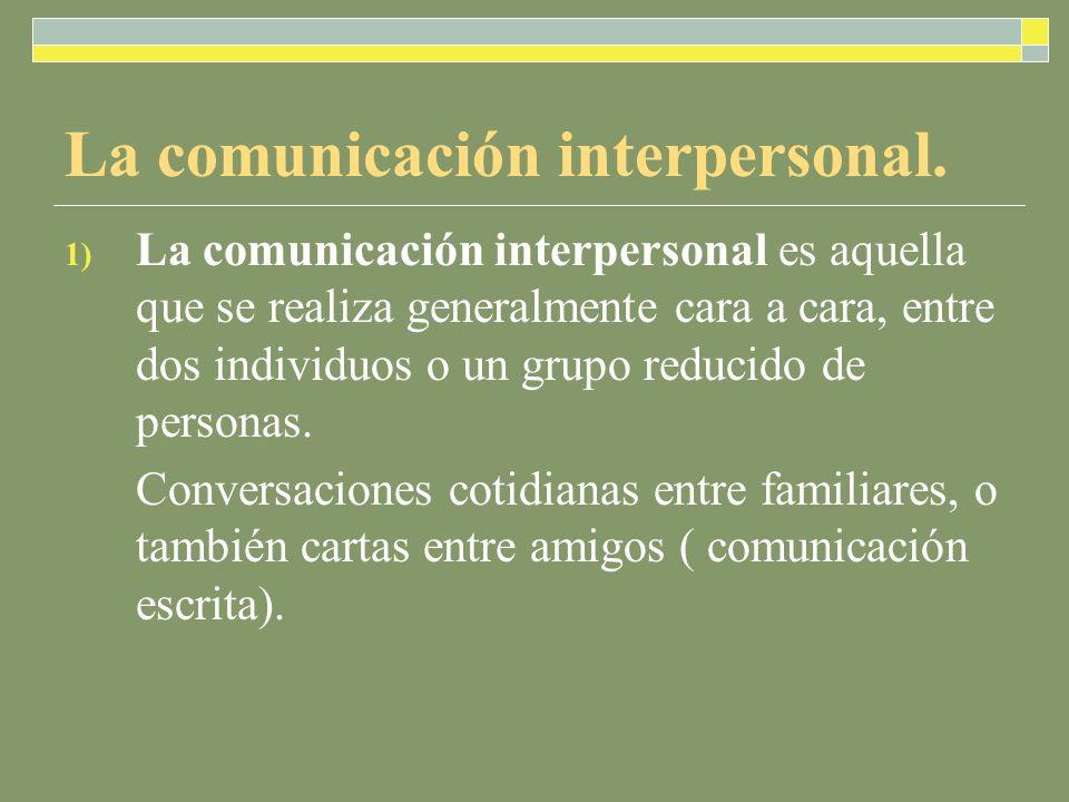 La comunicación interpersonal.