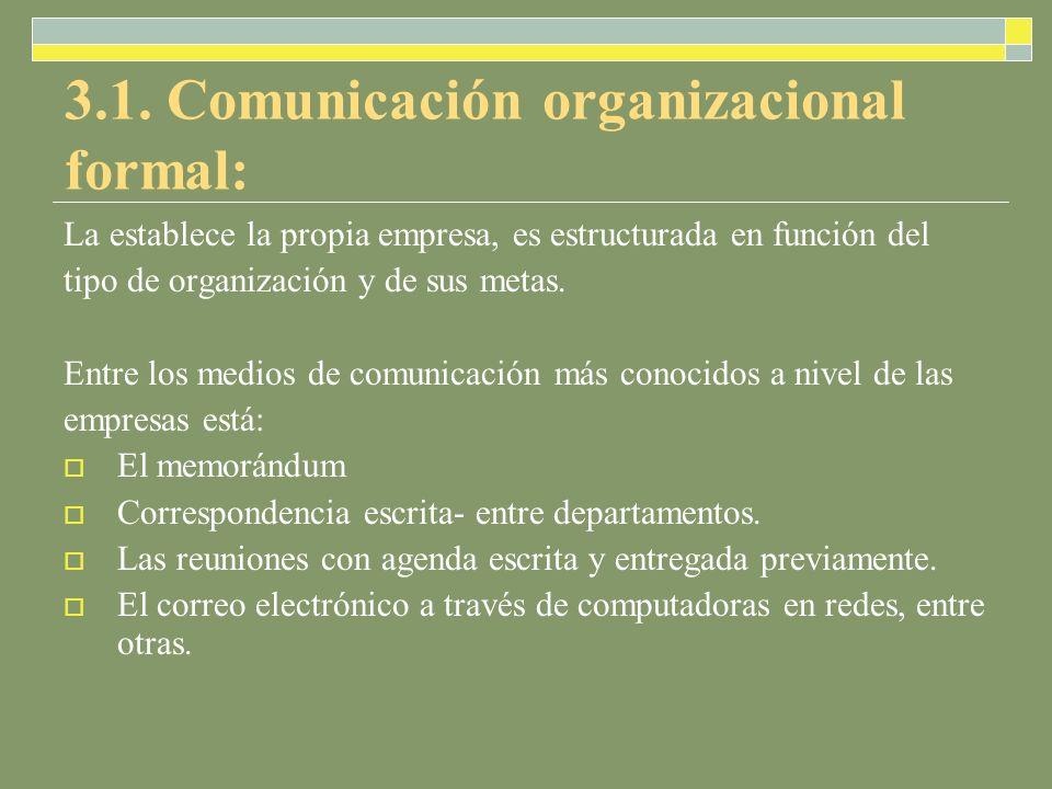 3.1. Comunicación organizacional formal: