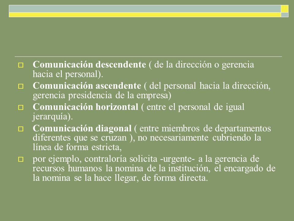 Comunicación descendente ( de la dirección o gerencia hacia el personal).