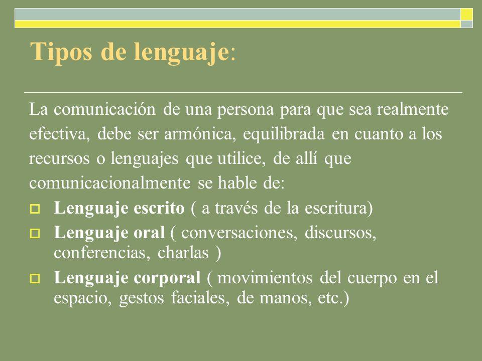 Tipos de lenguaje: La comunicación de una persona para que sea realmente. efectiva, debe ser armónica, equilibrada en cuanto a los.