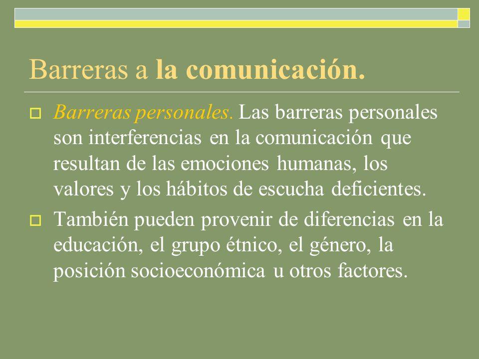 Barreras a la comunicación.