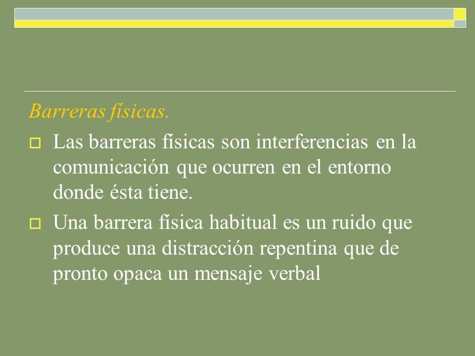Barreras físicas. Las barreras físicas son interferencias en la comunicación que ocurren en el entorno donde ésta tiene.