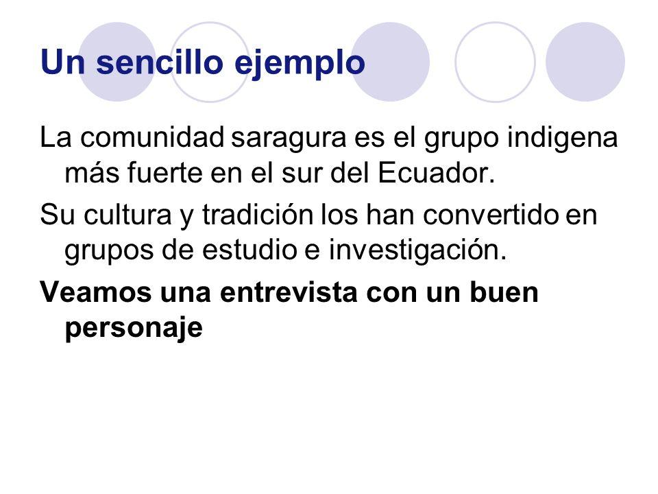 Un sencillo ejemplo La comunidad saragura es el grupo indigena más fuerte en el sur del Ecuador.