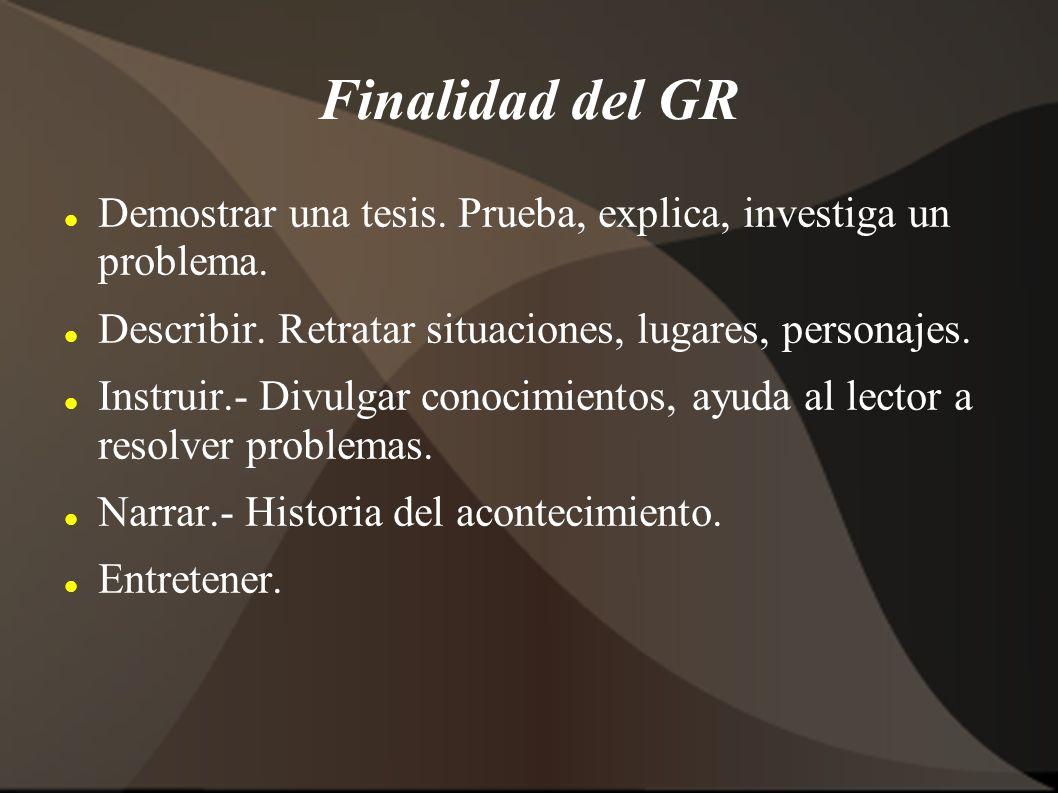 Finalidad del GR Demostrar una tesis. Prueba, explica, investiga un problema. Describir. Retratar situaciones, lugares, personajes.