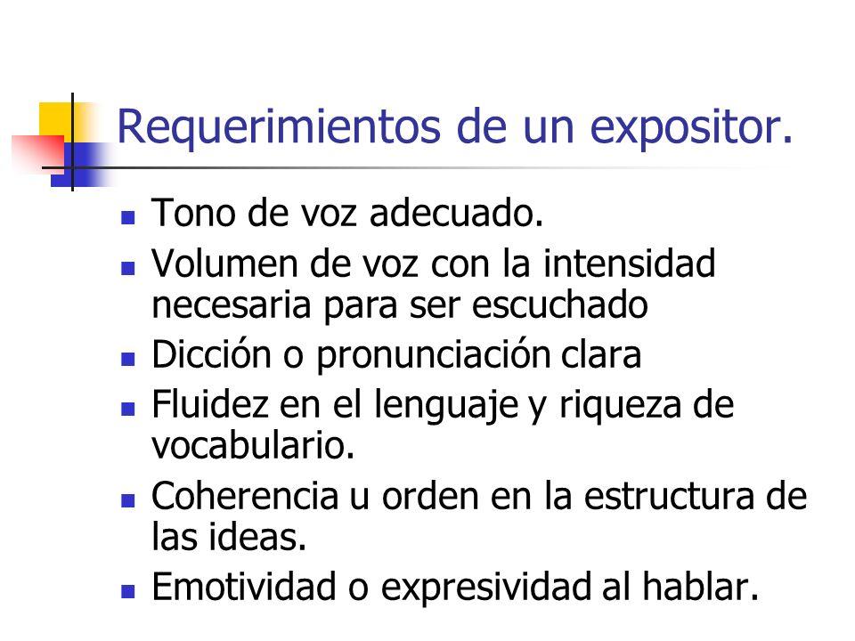 Requerimientos de un expositor.