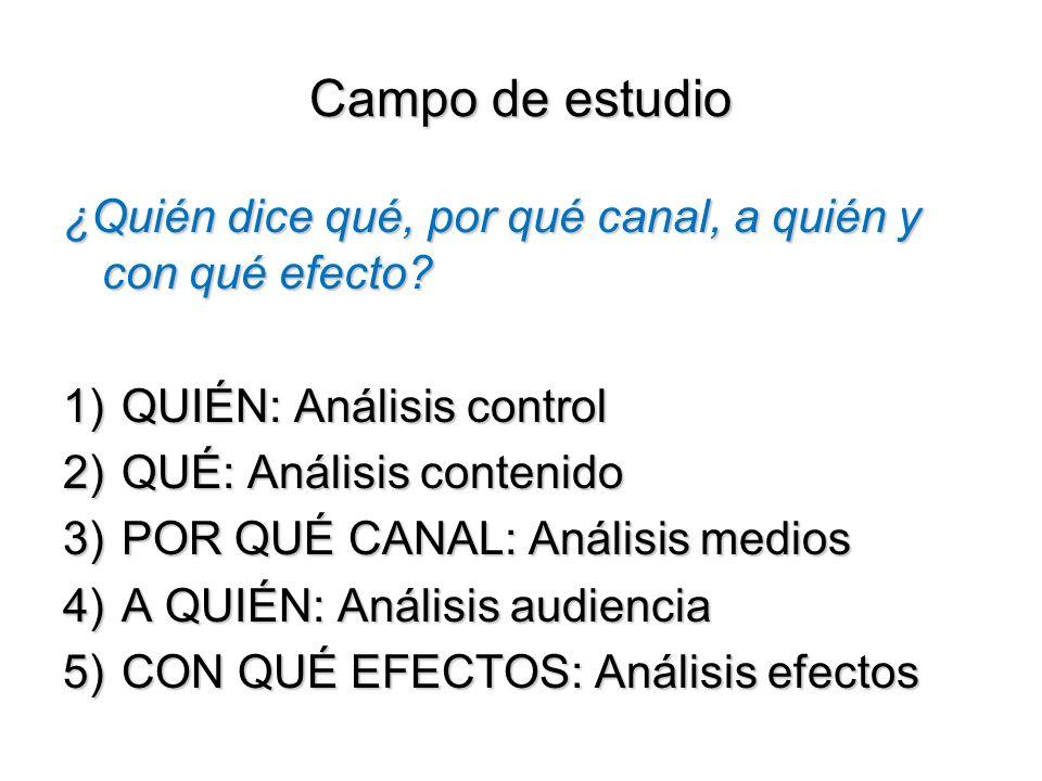 Campo de estudio ¿Quién dice qué, por qué canal, a quién y con qué efecto QUIÉN: Análisis control.