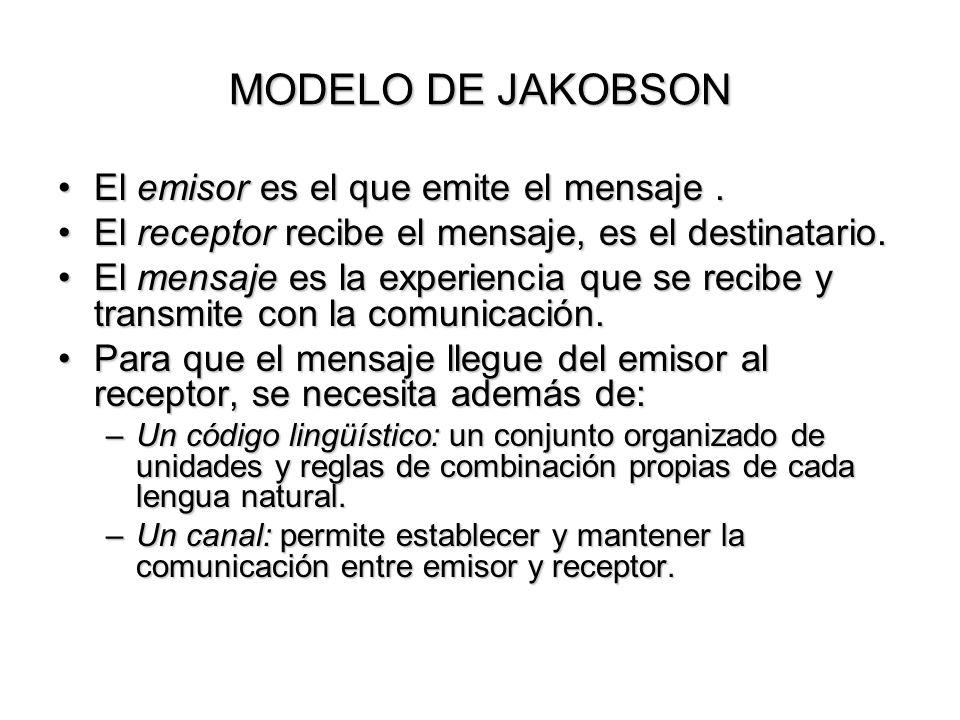 MODELO DE JAKOBSON El emisor es el que emite el mensaje .