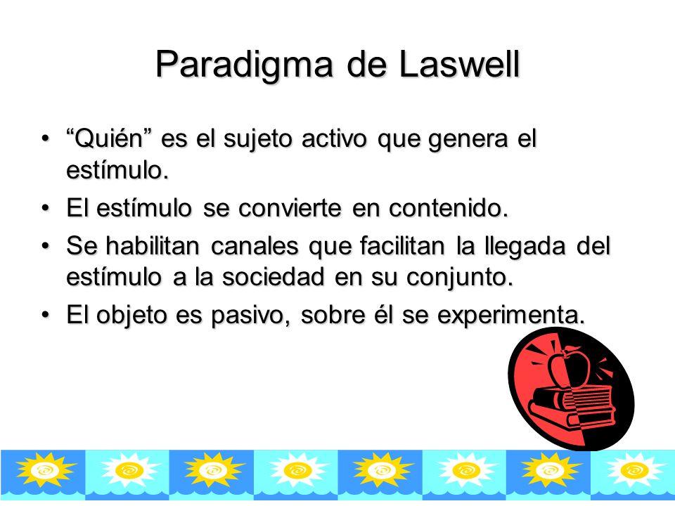 Paradigma de Laswell Quién es el sujeto activo que genera el estímulo. El estímulo se convierte en contenido.