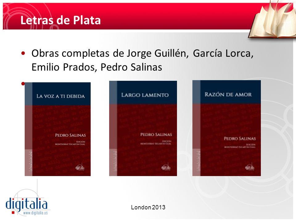 Letras de PlataObras completas de Jorge Guillén, García Lorca, Emilio Prados, Pedro Salinas.