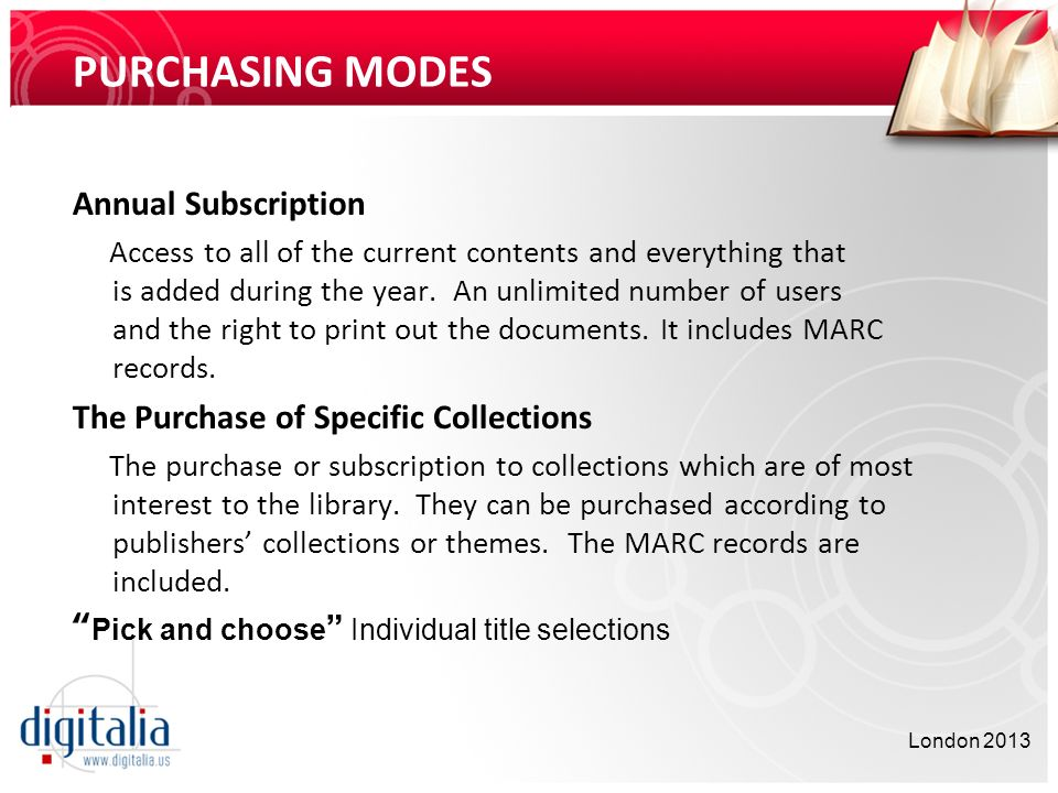 PURCHASING MODES Annual Subscription