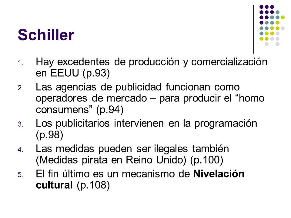 Schiller Hay excedentes de producción y comercialización en EEUU (p.93)
