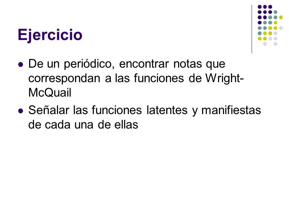 EjercicioDe un periódico, encontrar notas que correspondan a las funciones de Wright-McQuail.