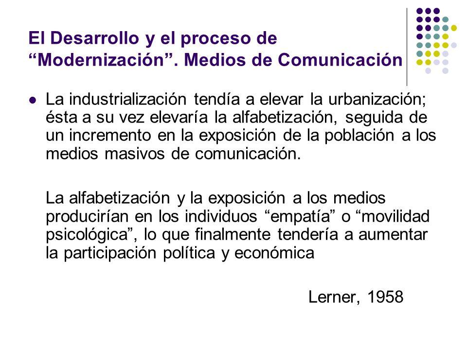 El Desarrollo y el proceso de Modernización . Medios de Comunicación