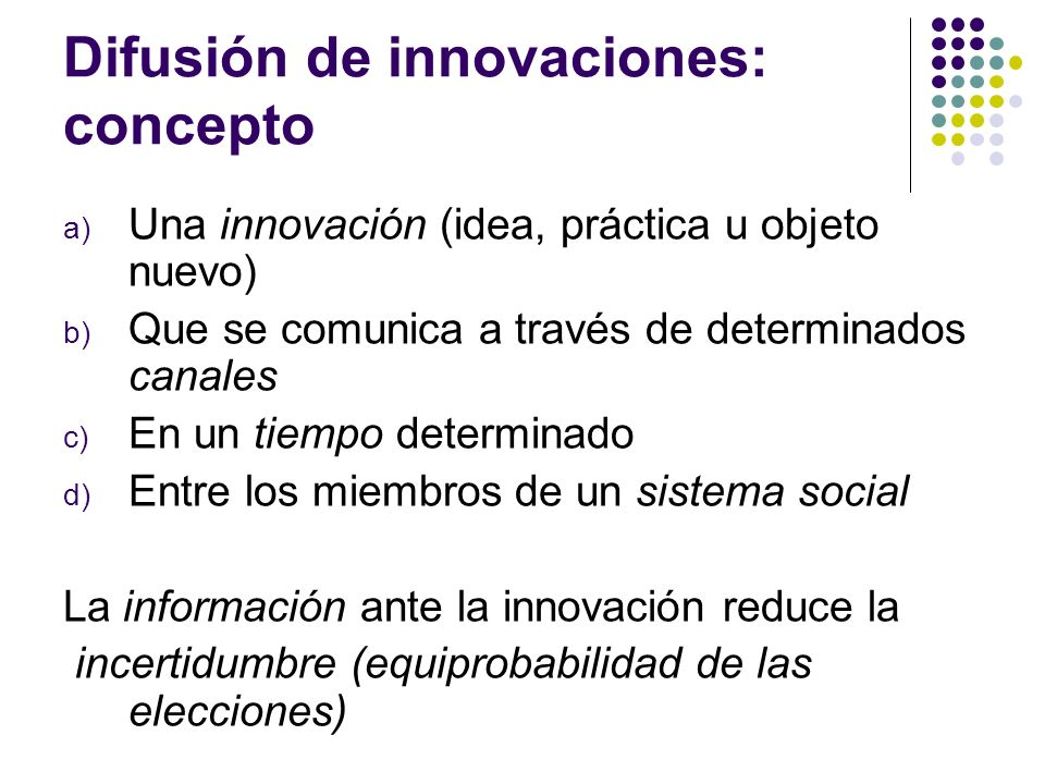 Difusión de innovaciones: concepto