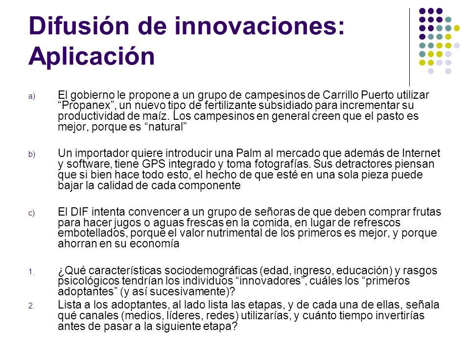 Difusión de innovaciones: Aplicación