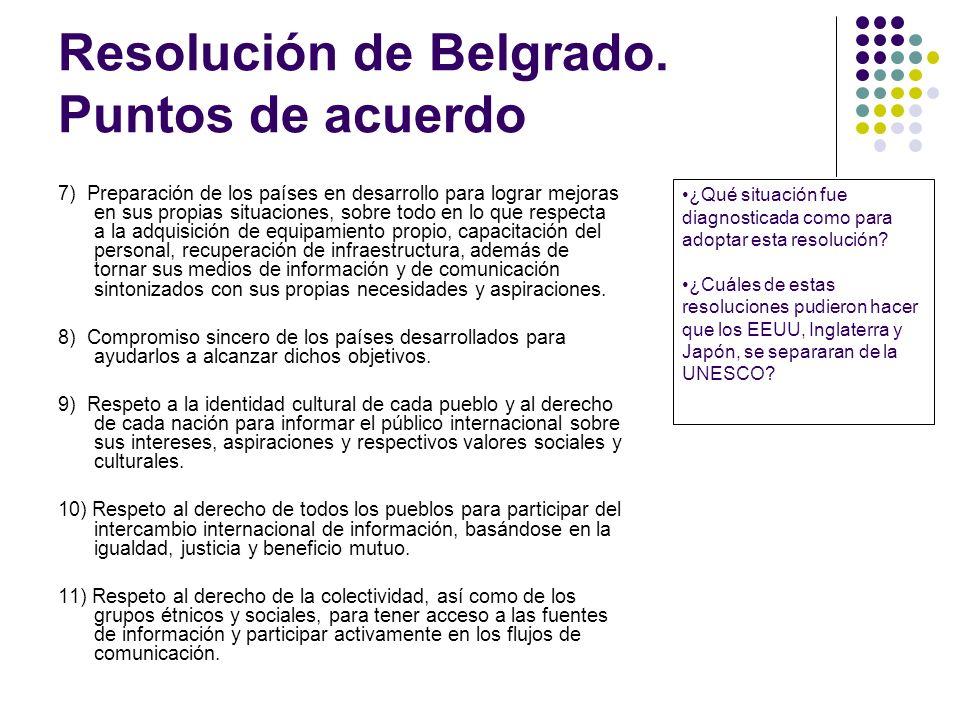Resolución de Belgrado. Puntos de acuerdo