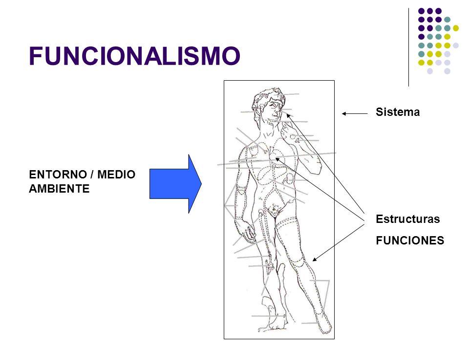 FUNCIONALISMO Sistema ENTORNO / MEDIO AMBIENTE Estructuras FUNCIONES