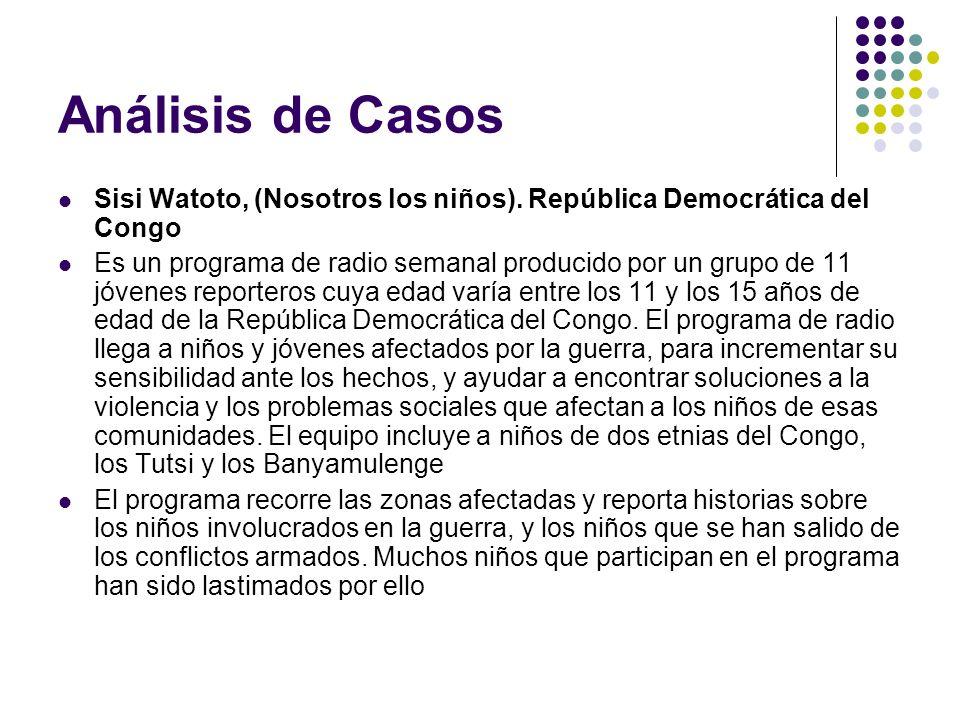 Análisis de Casos Sisi Watoto, (Nosotros los niños). República Democrática del Congo.