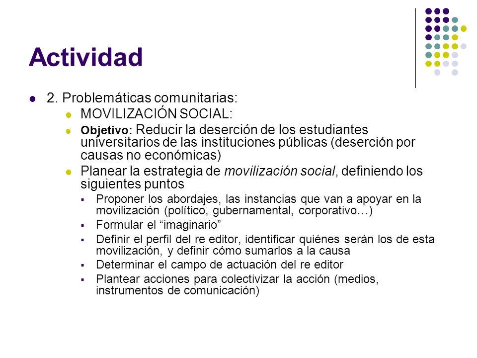 Actividad 2. Problemáticas comunitarias: MOVILIZACIÓN SOCIAL: