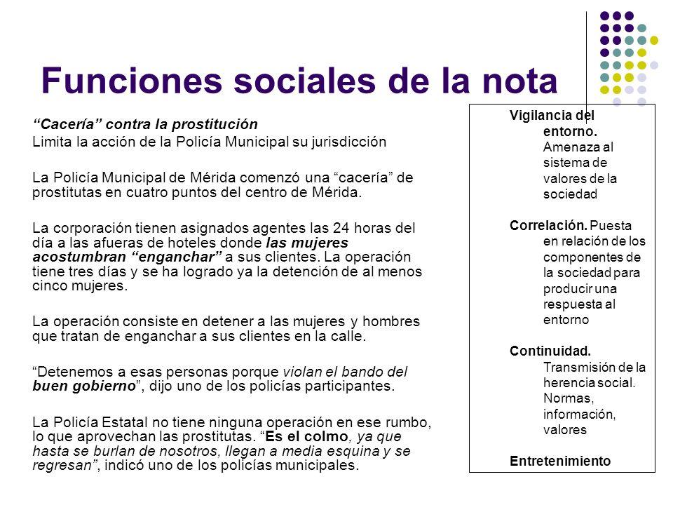 Funciones sociales de la nota