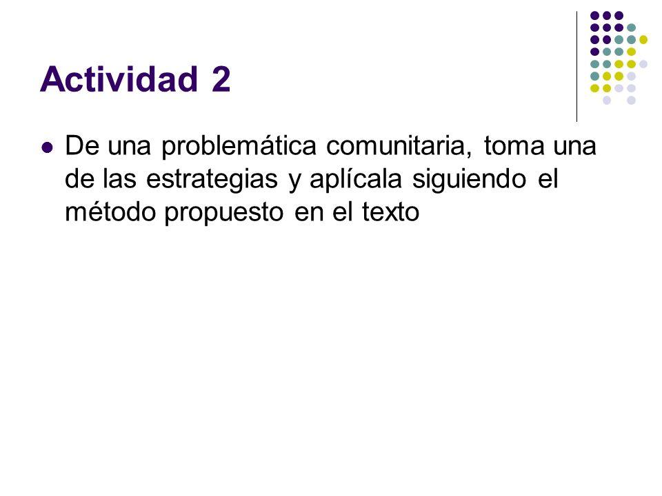 Actividad 2De una problemática comunitaria, toma una de las estrategias y aplícala siguiendo el método propuesto en el texto.