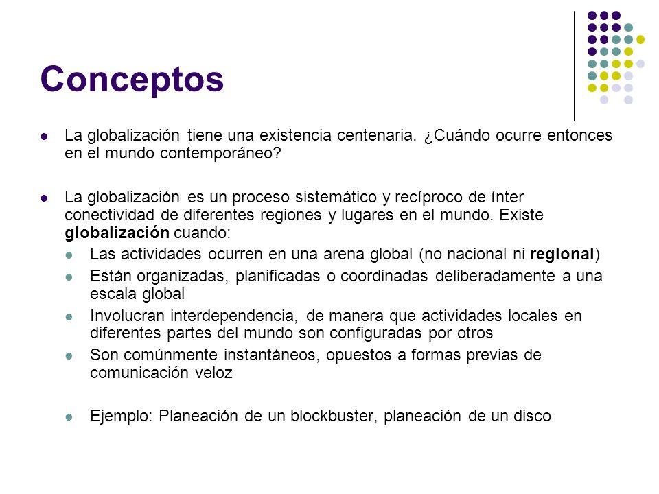 Conceptos La globalización tiene una existencia centenaria. ¿Cuándo ocurre entonces en el mundo contemporáneo