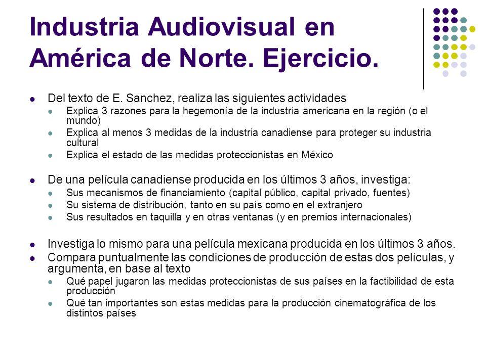 Industria Audiovisual en América de Norte. Ejercicio.