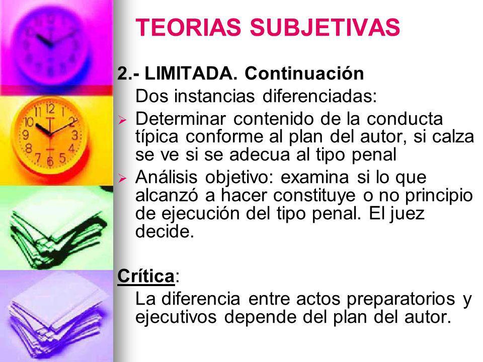 TEORIAS SUBJETIVAS 2.- LIMITADA. Continuación
