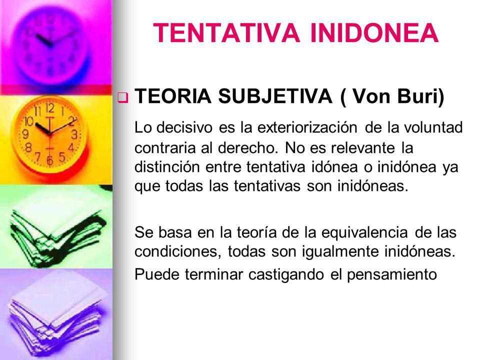 TENTATIVA INIDONEA TEORIA SUBJETIVA ( Von Buri)