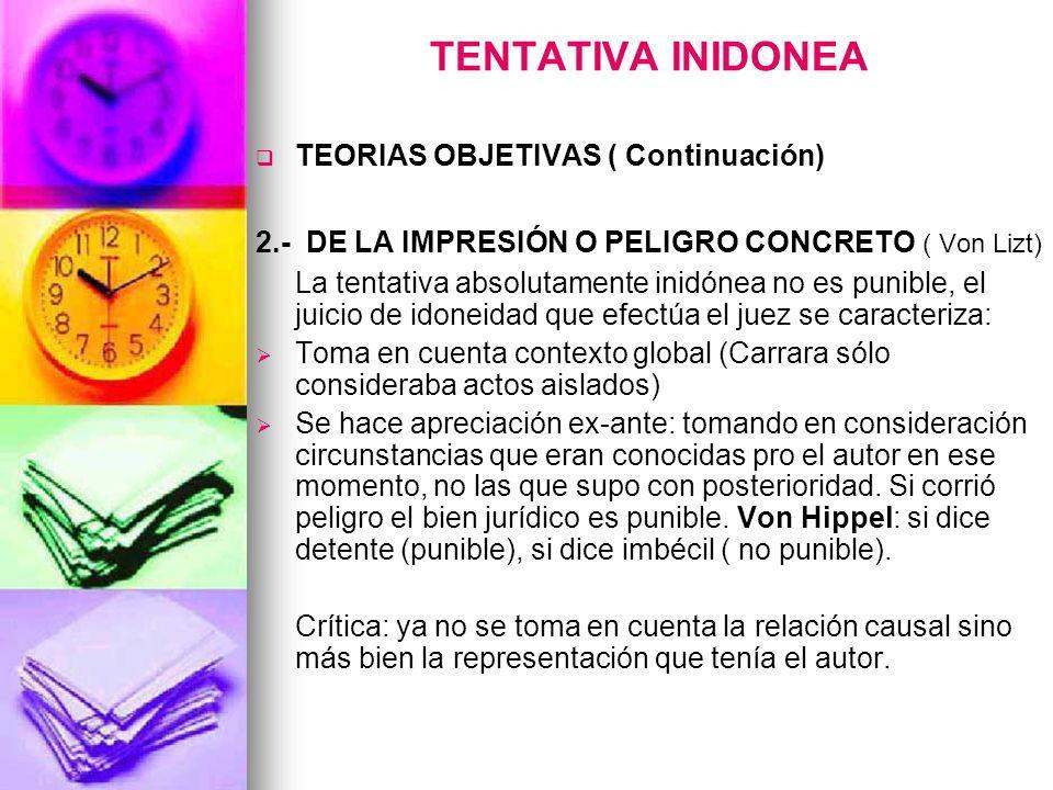 TENTATIVA INIDONEA TEORIAS OBJETIVAS ( Continuación)