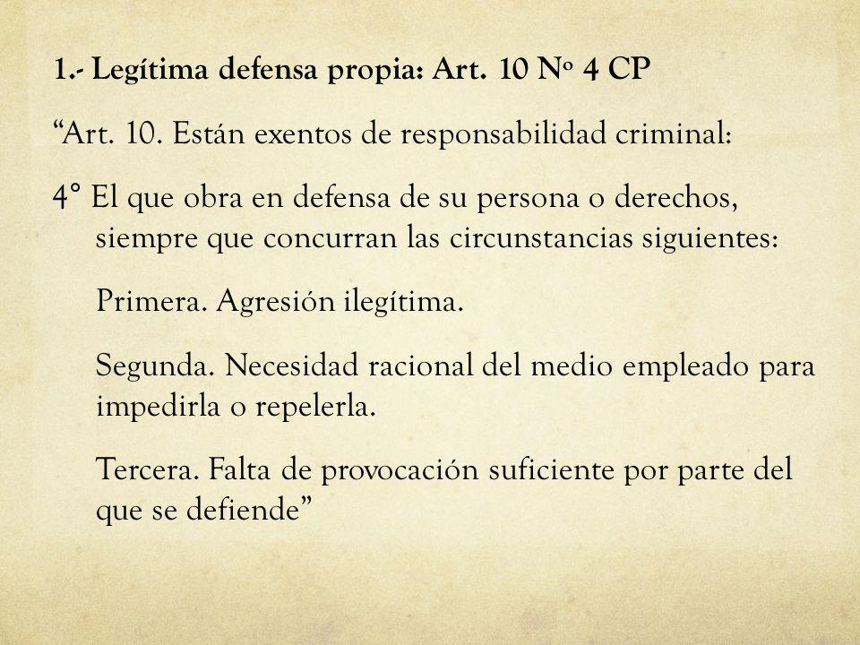 1.- Legítima defensa propia: Art. 10 Nº 4 CP