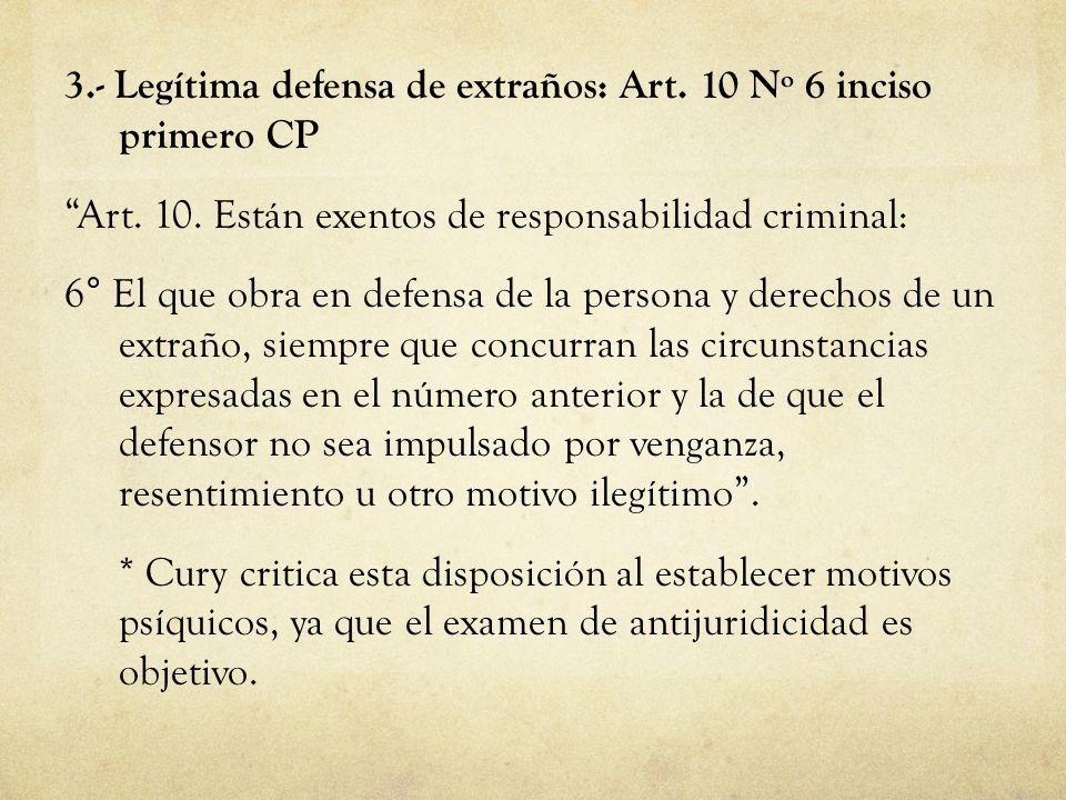 3. - Legítima defensa de extraños: Art. 10 Nº 6 inciso primero CP Art