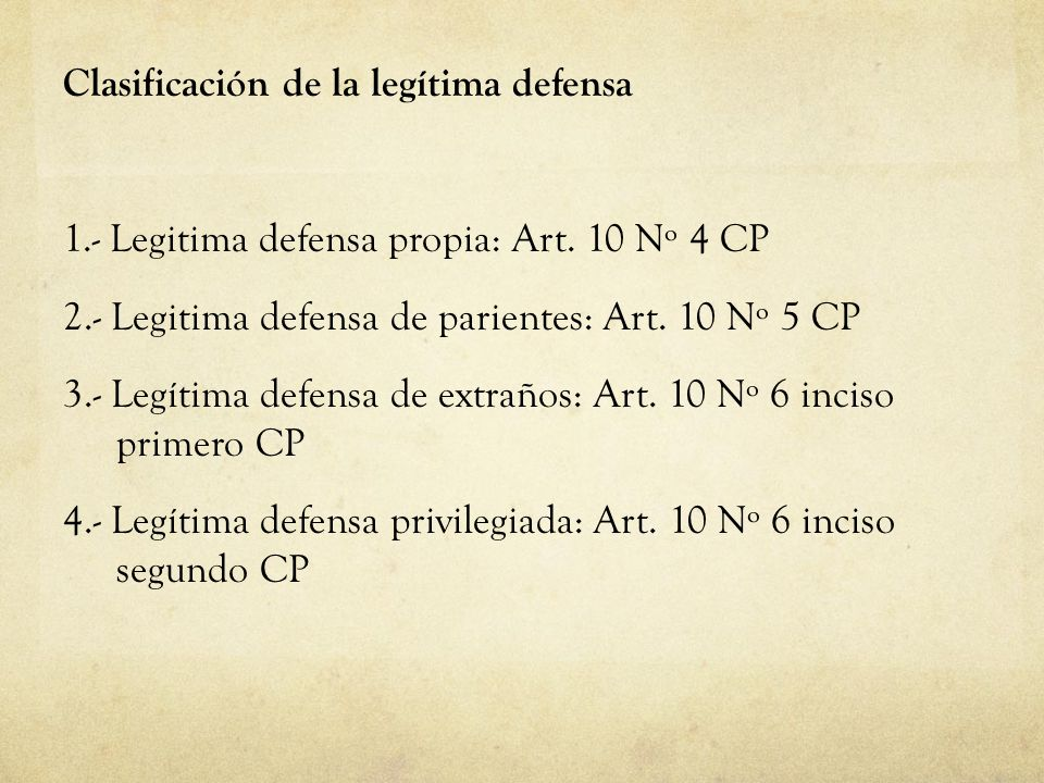 Clasificación de la legítima defensa