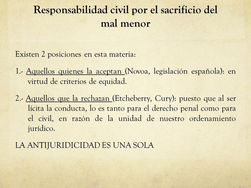 Responsabilidad civil por el sacrificio del mal menor