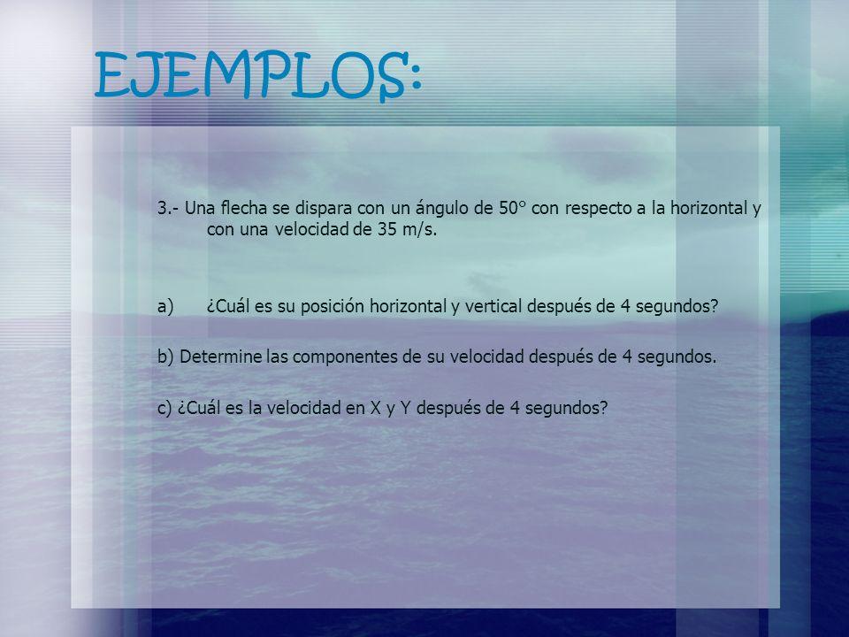 EJEMPLOS: 3.- Una flecha se dispara con un ángulo de 50° con respecto a la horizontal y con una velocidad de 35 m/s.