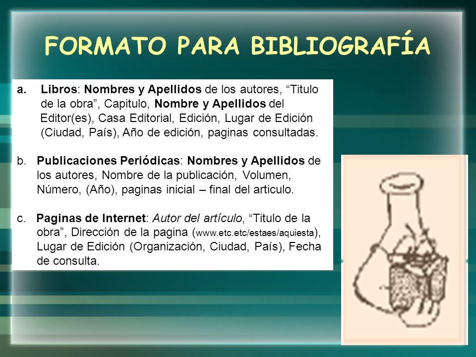 FORMATO PARA BIBLIOGRAFÍA
