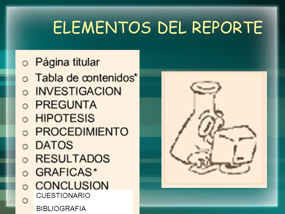 ELEMENTOS DEL REPORTE * * CUESTIONARIO BIBLIOGRAFIA