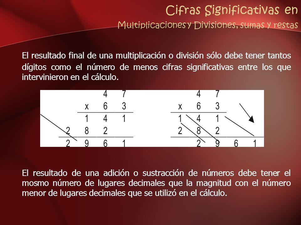 Cifras Significativas en Multiplicaciones y Divisiones, sumas y restas