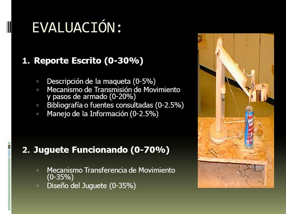 EVALUACIÓN: Reporte Escrito (0-30%) Juguete Funcionando (0-70%)