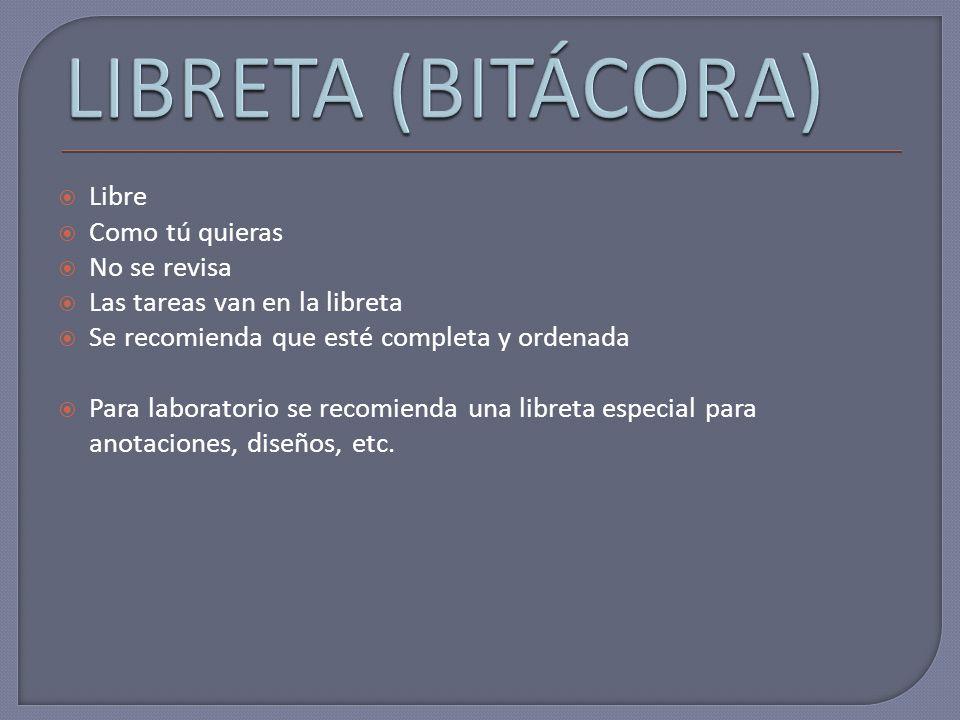 LIBRETA (BITÁCORA) Libre Como tú quieras No se revisa