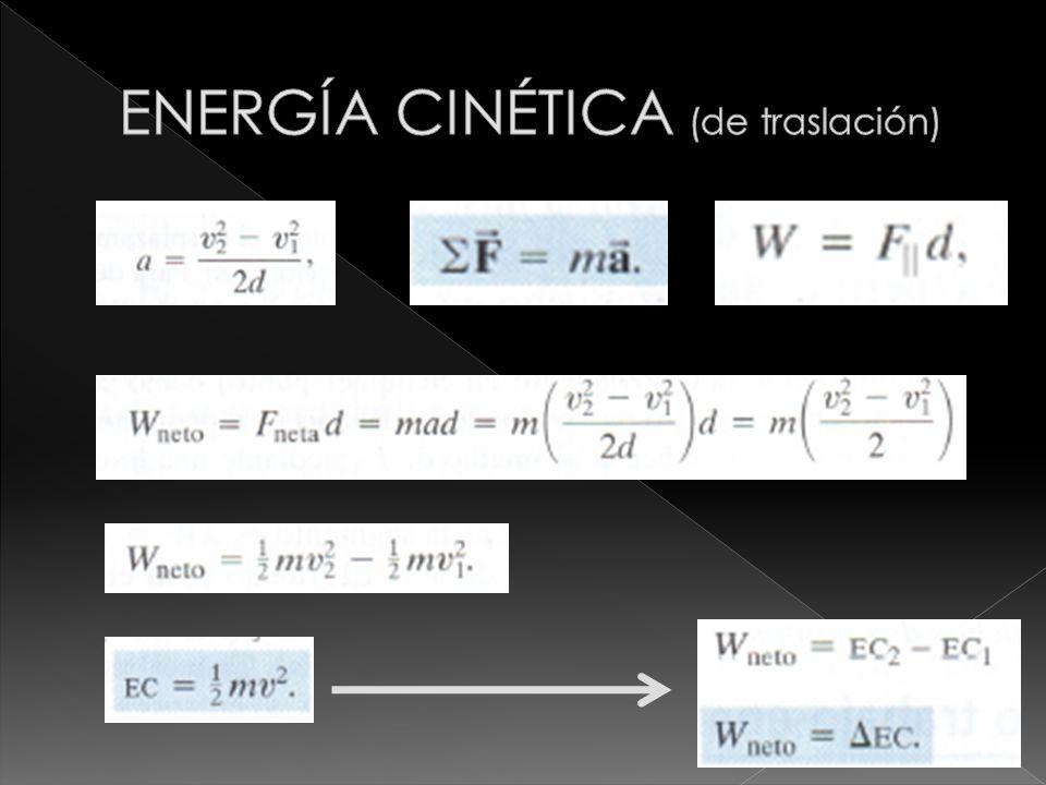 ENERGÍA CINÉTICA (de traslación)