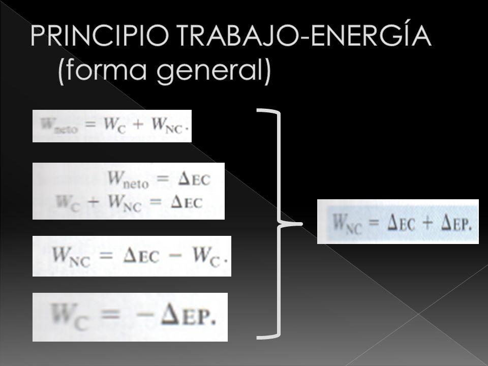 PRINCIPIO TRABAJO-ENERGÍA (forma general)