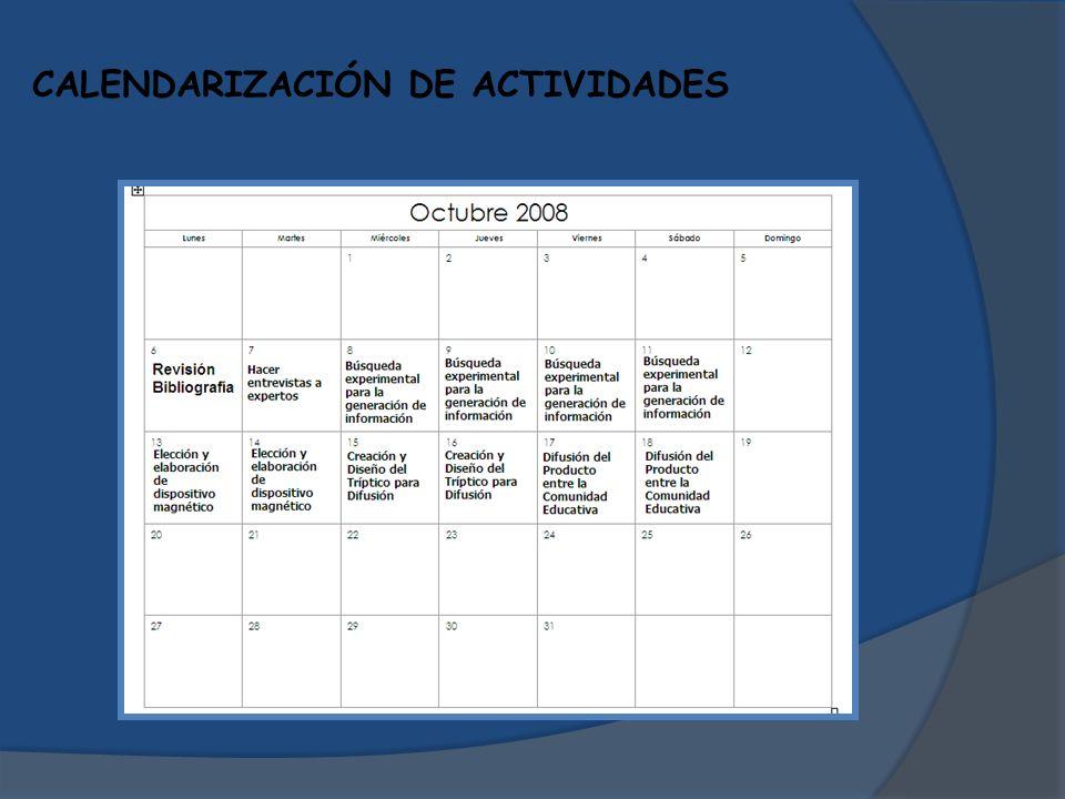 CALENDARIZACIÓN DE ACTIVIDADES