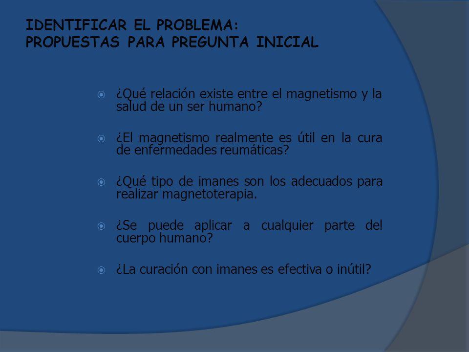 IDENTIFICAR EL PROBLEMA: PROPUESTAS PARA PREGUNTA INICIAL