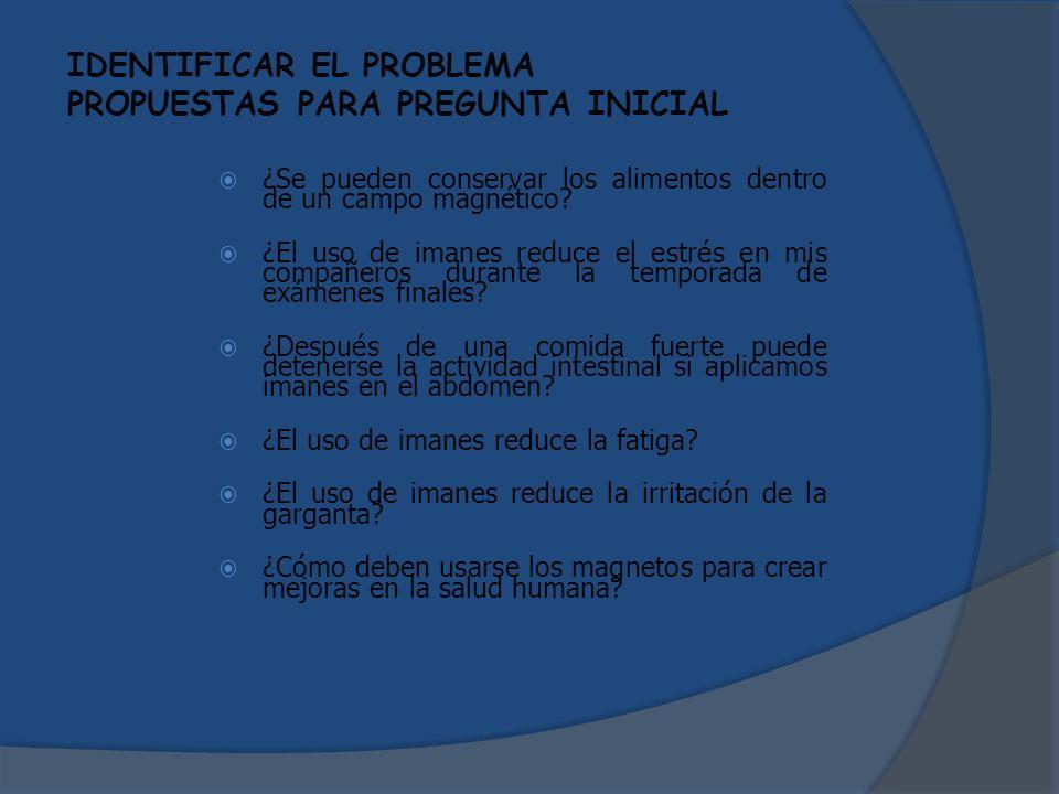 IDENTIFICAR EL PROBLEMA PROPUESTAS PARA PREGUNTA INICIAL