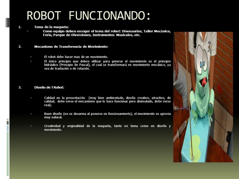ROBOT FUNCIONANDO: Tema de la maqueta: