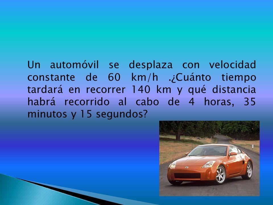 Un automóvil se desplaza con velocidad constante de 60 km/h