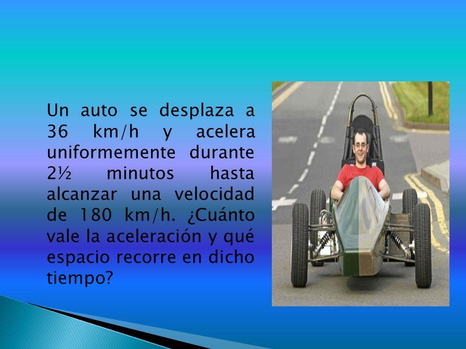 Un auto se desplaza a 36 km/h y acelera uniformemente durante 2½ minutos hasta alcanzar una velocidad de 180 km/h.