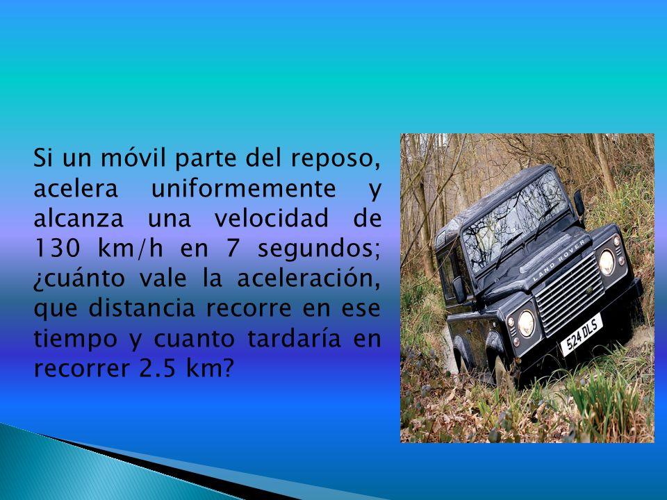 Si un móvil parte del reposo, acelera uniformemente y alcanza una velocidad de 130 km/h en 7 segundos; ¿cuánto vale la aceleración, que distancia recorre en ese tiempo y cuanto tardaría en recorrer 2.5 km