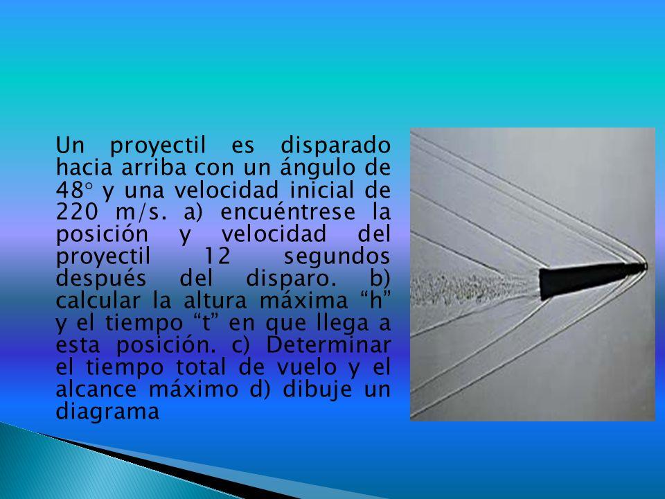 Un proyectil es disparado hacia arriba con un ángulo de 48 y una velocidad inicial de 220 m/s.